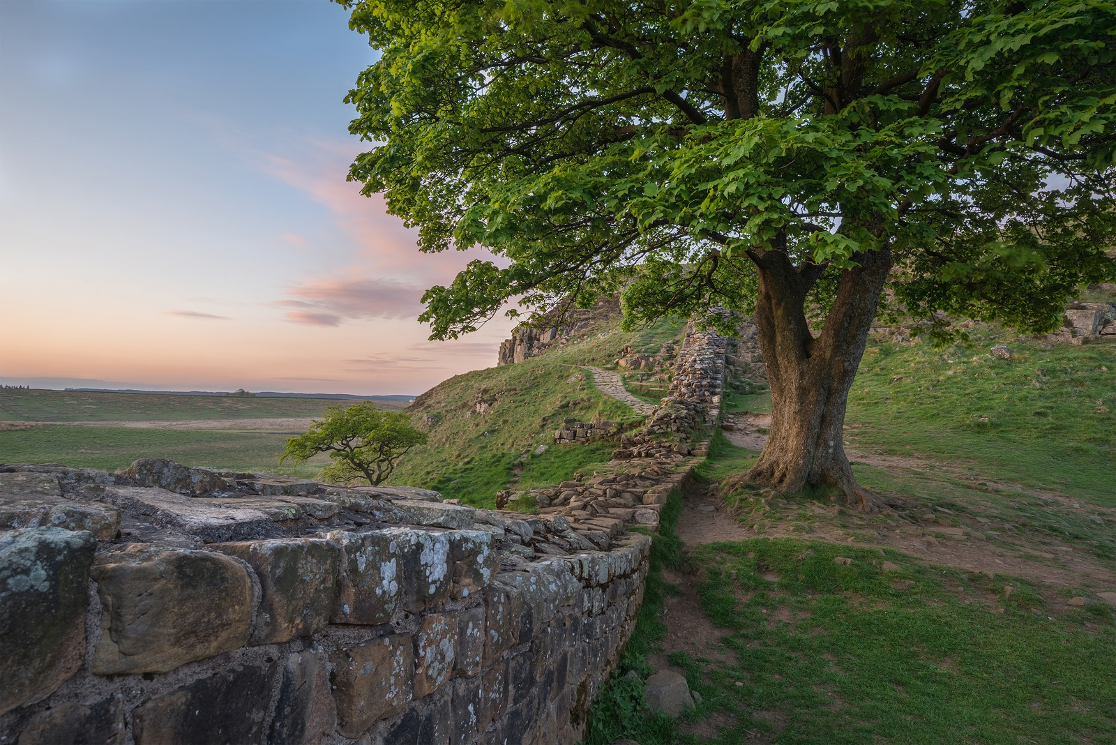 Beautiful Landscape Image Of Sycamore Gap At Hadrian's Wall In N
